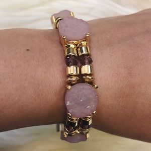 The Limited Pink Stone and Gold Beaded Bracelet